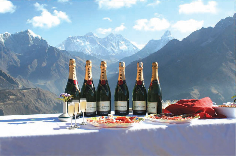 Champagne at the top of the world